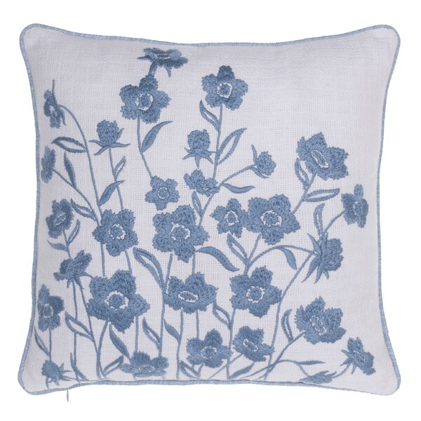 Blooming Springs Embroidered Throw Pillow by 14 Karat Home Inc.