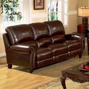 Kahle Leather Reclining Sofa by Darby Home Co