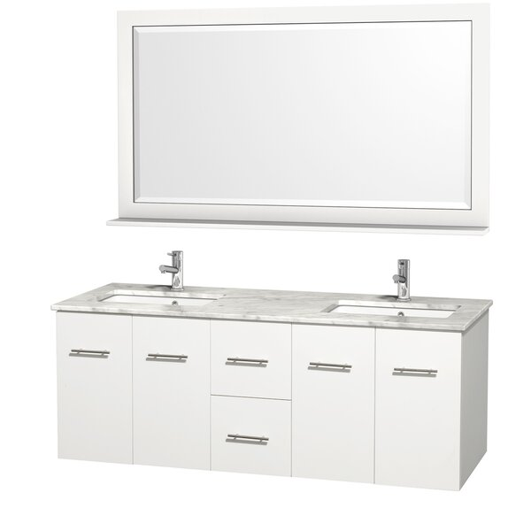 Centra 60 Double White Bathroom Vanity Set with Mirror by Wyndham Collection
