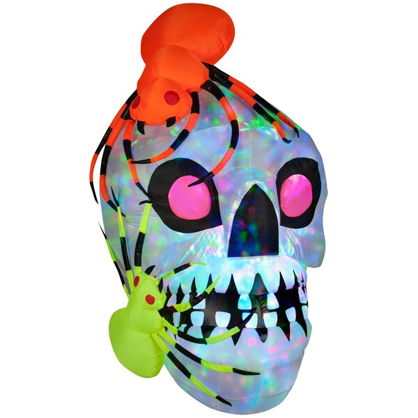 Light Show Skull with Spiders - Kaleidoscope Halloween Decoration by The Holiday Aisle