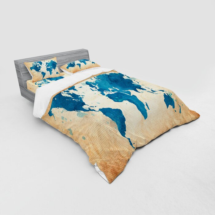 Map Vintage World Map with Watercolor Brushstrokes on Old Backdrop Print  Duvet Cover Set