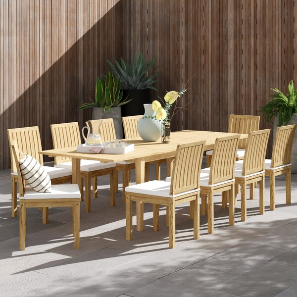 Anthony 11 Piece Teak Dining Set With Cushions By Foundstone