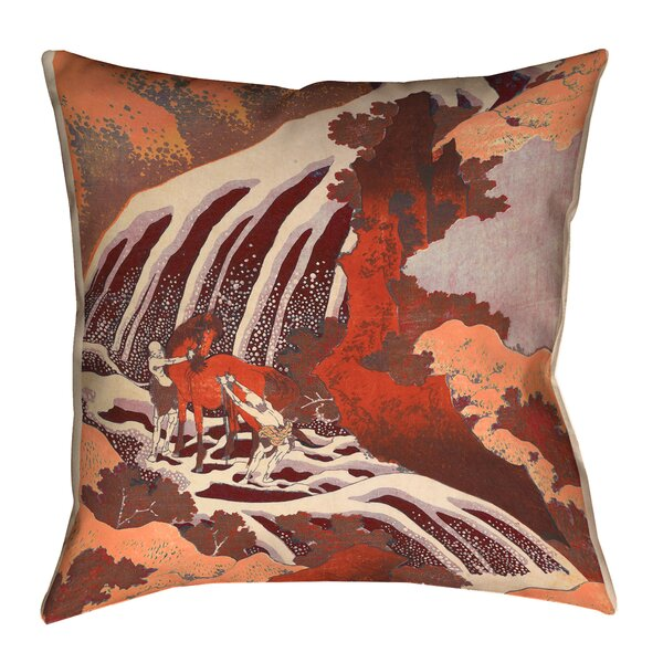 Brown Horse and Waterfall Indoor/Outdoor Lumbar Pillow by Bloomsbury Market