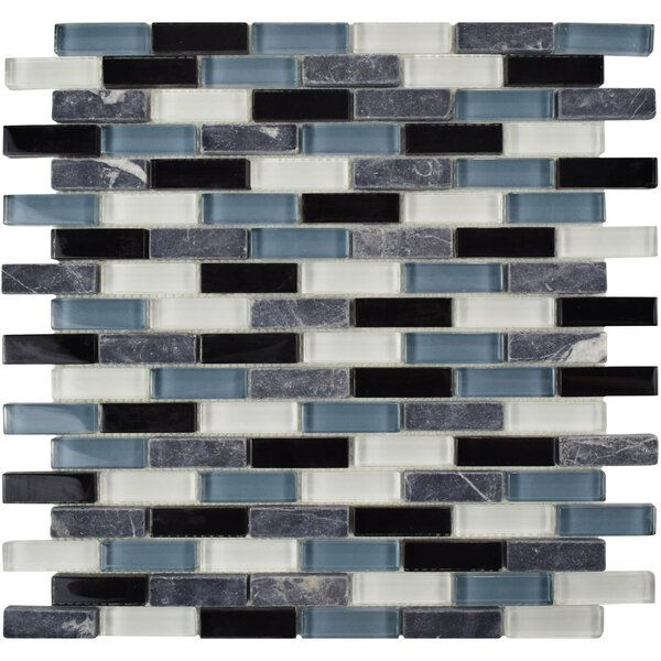 Sierra 0.58 x 1.88 Glass and Natural Stone Mosaic Tile in Black/Blue by EliteTile