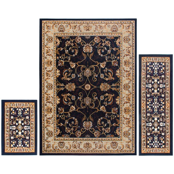 Gallaher 3 Piece Ebony Area Rug Set by Charlton Home