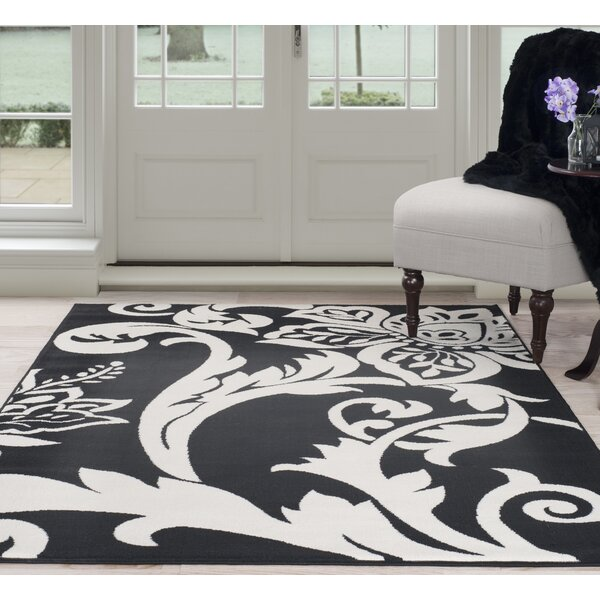 Floral Black/White Area Rug by Plymouth Home