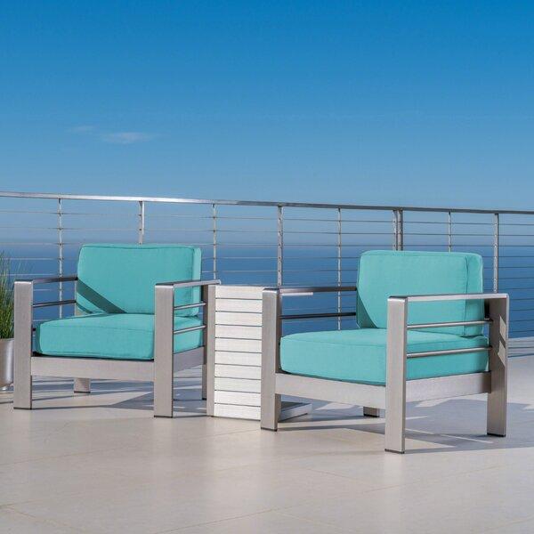 Royalston Outdoor 3 Piece Sunbrella Conversation Set with Cushions by Brayden Studio Brayden Studio