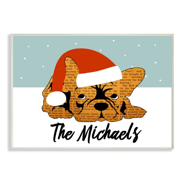 Personalized Newspaper Puppy Santa Hat Holiday Graphic Art on Plaque by Stupell Industries