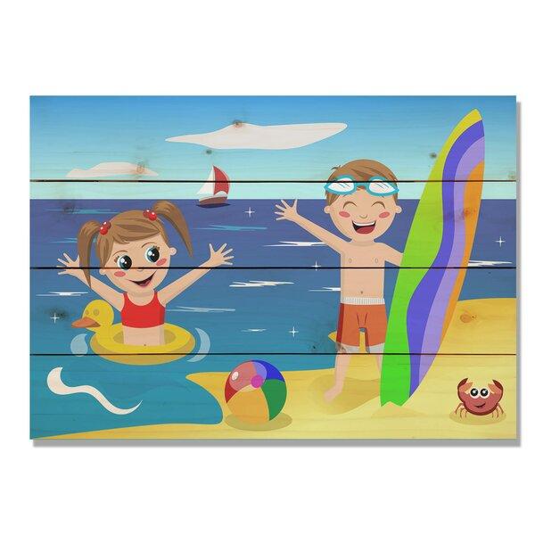4 Piece Wile E. Wood Kids on Beach Graphic Art Set by Gizaun Art