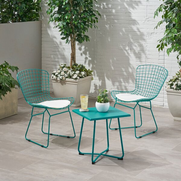 Galloway Outdoor 3 Piece Seating Group with Cushions by Wrought Studio