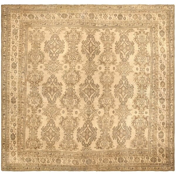 One-of-a-Kind Turkish Hand-Knotted Gold 17'7 x 18'7 Wool Area Rug