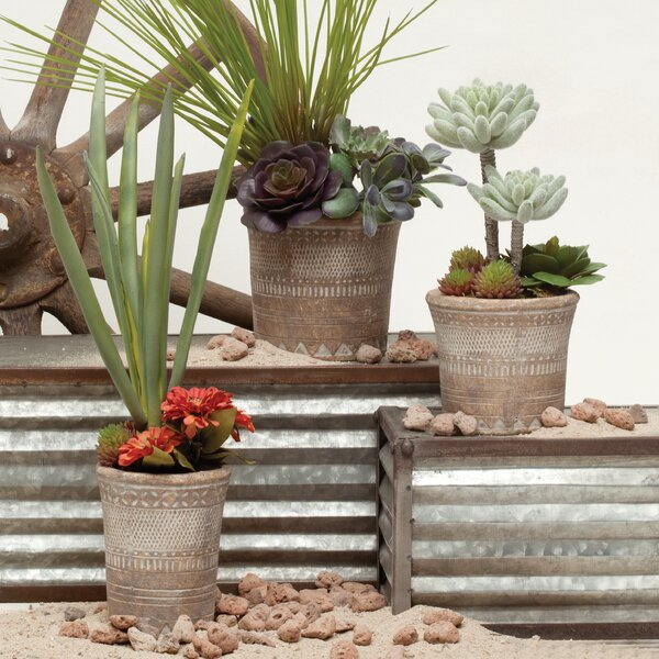 Elkton Santa Fe Concrete 3-Piece Pot Planter Set by Bungalow Rose