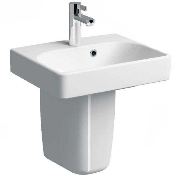 Smyle Vitreous China 18 Semi Pedestal Bathroom Sink with Overflow by Bissonnet