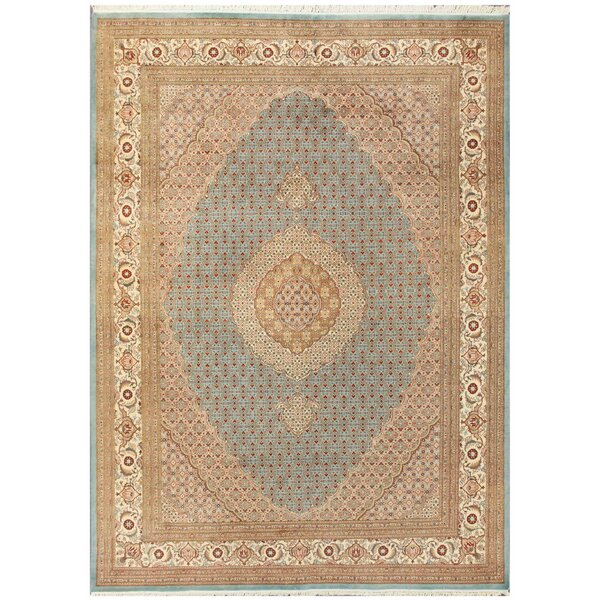Tabriz Hand-Knotted Light Blue/Ivory Area Rug by Pasargad