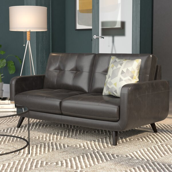 Basilica Genuine Leather Loveseat by Langley Street