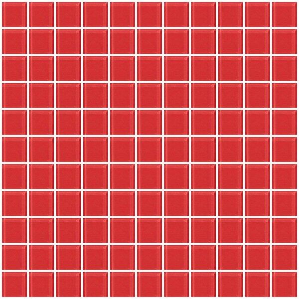 1 x 1 Glass Mosaic Tile in Watermelon Pink by Susan Jablon