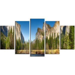 'Yosemite Valley Panorama' 5 Piece Wall Art on Wrapped Canvas Set by Design Art
