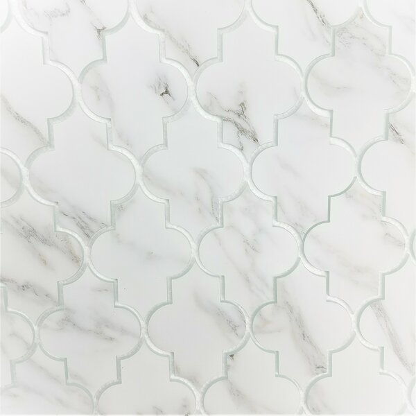 Nature Small Lantern 4 x 6 Glass Tile in Calacatta White/Gray veins by Abolos