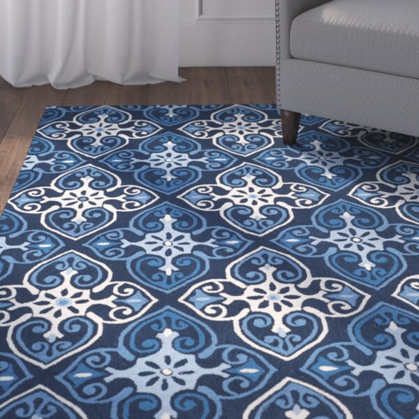 Blacksmith Hand-Hooked Navy/Ivory Area Rug by Red Barrel Studio