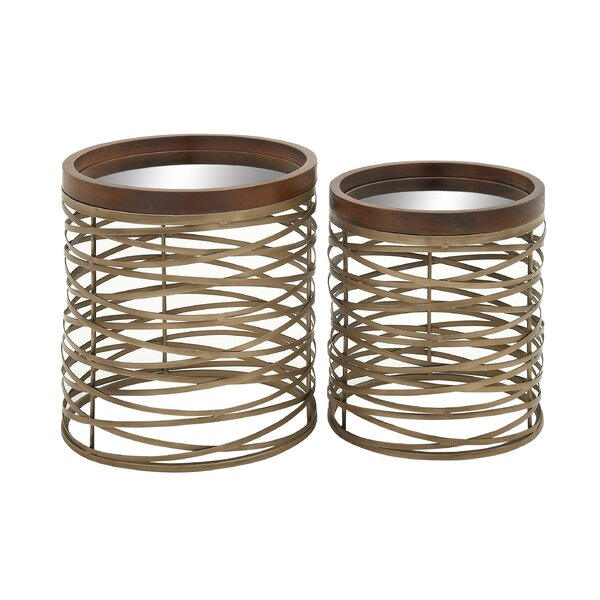 Metal and Mirror End Table by Cole & Grey Cole & Grey