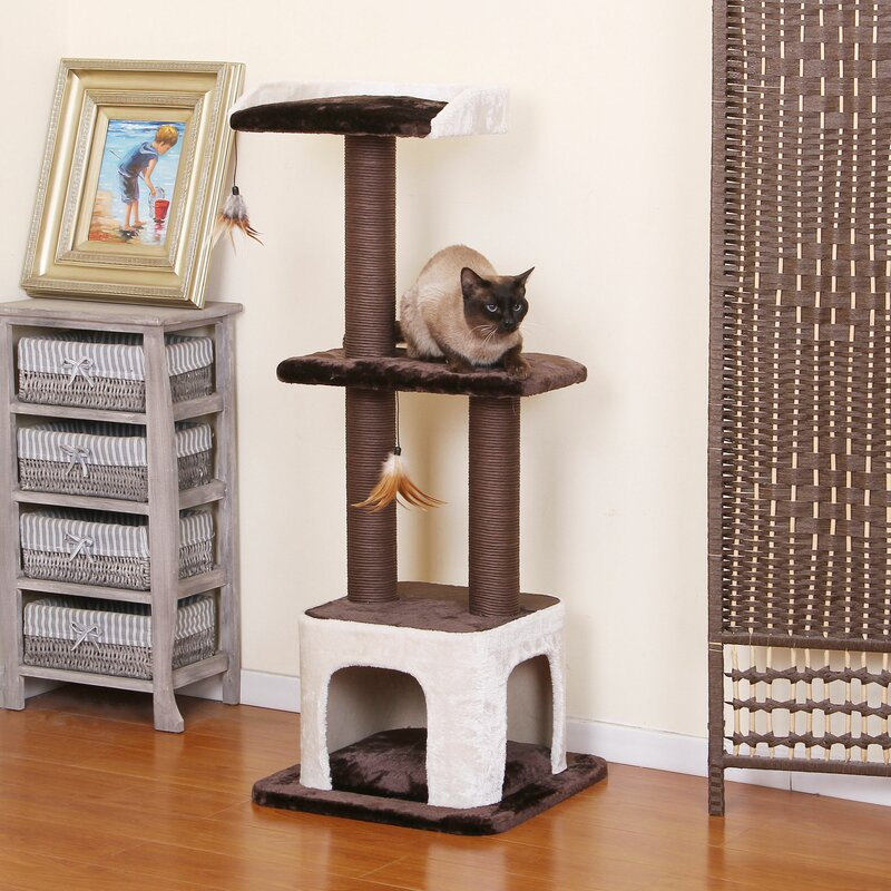 48 inch Space Saver Cat Tree With Perch Condo and Toys