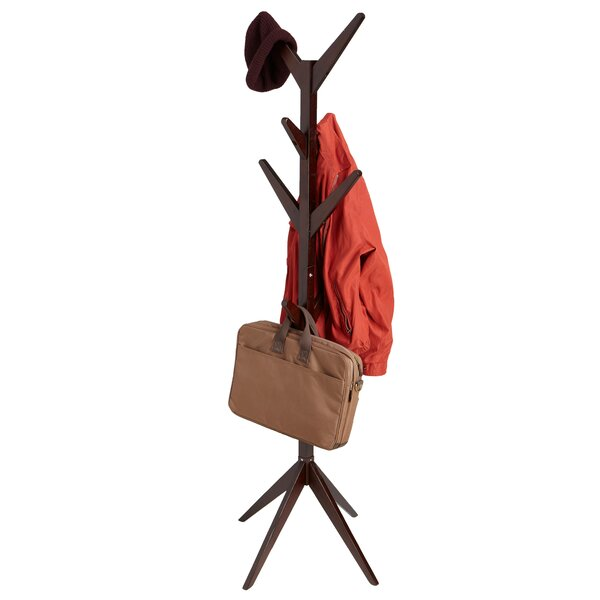Free Standing 8 Hook Wooden Coat Rack by Mind Reader