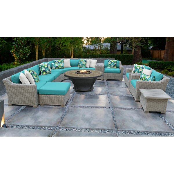 Arora 12 Piece Rattan Sectional Seating Group with Cushions by Latitude Run