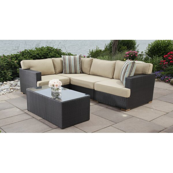 Salina 5 Piece Rattan Sectional Seating Group with Cushions by Madbury Road