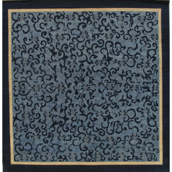 Floral Hand-Knotted Wool Blue Area Rug