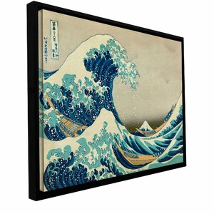 'The Great Wave Off Kanagawa' by Katsushika Hokusai Framed Painting Print on Wrapped Canvas by ArtWall