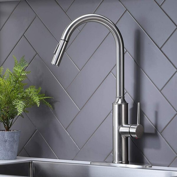 Pull Down Single Handle Kitchen Faucet By Comllen