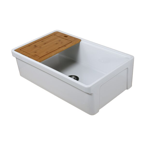 Tosca Fireclay 33 L x 20 W Farmhouse Kitchen Sink with Bottom Grid and Strainer by Empire Industries