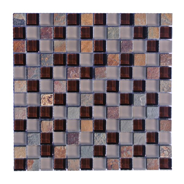 Mineral 1 x 1 Glass and Slate Mosaic Tile in Multi by Abolos