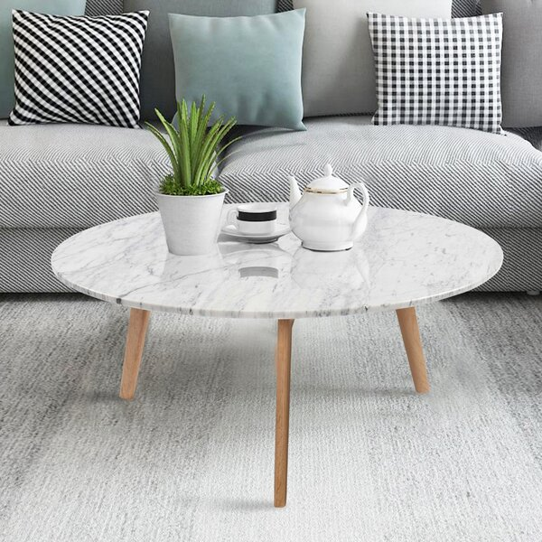 Iola Round Marble Coffee Table by Ivy Bronx Ivy Bronx