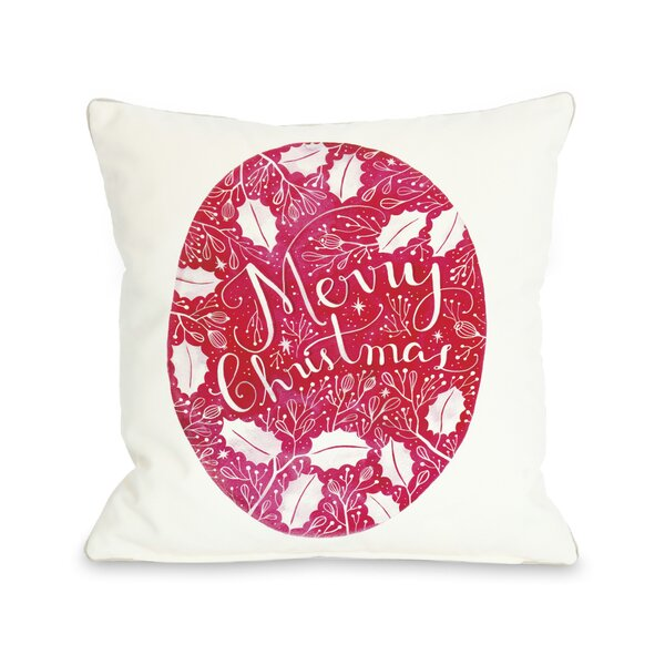 Merry Christmas Circle Ivy Throw Pillow by One Bella Casa