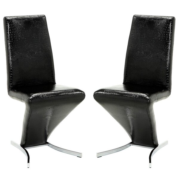 Butz Leather Upholstered Parsons Chair in Black (Set of 2) by Everly Quinn Everly Quinn