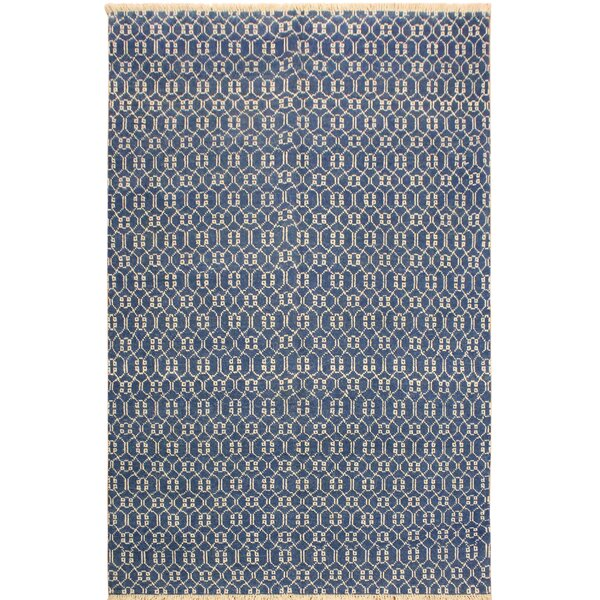 One-of-a-Kind Marigold Hand Knotted Wool Light Blue/Ivory Area Rug by Wrought Studio