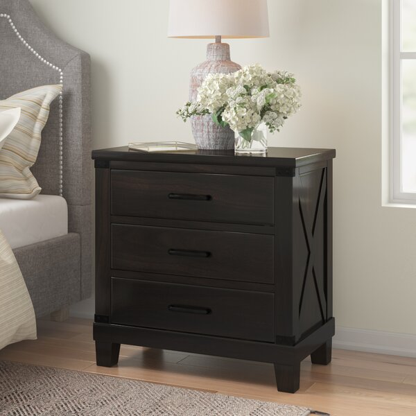 Grecia 3 Drawer Nightstand by Three Posts