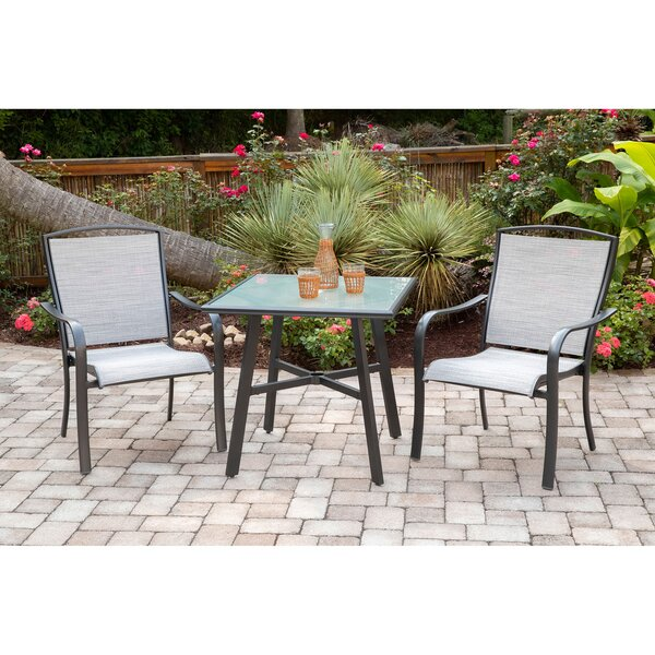 Wrenn 3-Piece Commercial-Grade Bistro Set with 2 Sling Dining Chairs and a 30 inch  Square Glass-Top Table by Charlton Home