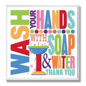 'Wash with Soap and Water Rainbow' Typography Bathroom Wall Plaque by Viv + Rae