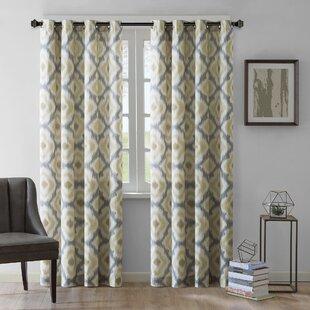 Wilson Ikat Semi Sheer Grommet Single Curtain Panel
