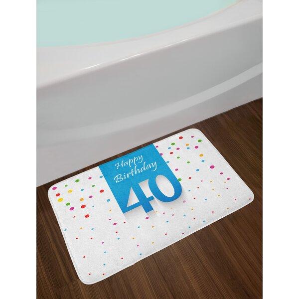 Stylized 40th Birthday Bath Rug by East Urban Home