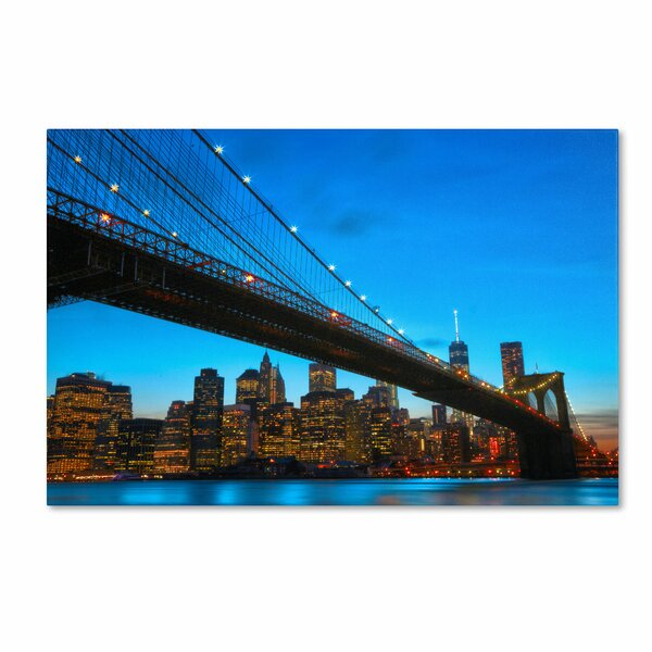 Brooklyn Bridge 1 by CATeyes Photographic Print on Wrapped Canvas by Trademark Fine Art