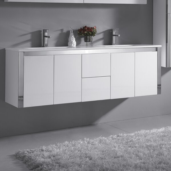 Lelio 59 Wall-Mounted Double Bathroom Vanity Set by Ove Decors