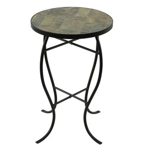 Round StoneTop Metal End Table Homestyle Collection