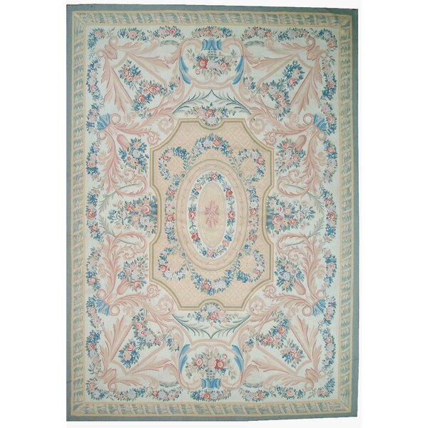 One-of-a-Kind Aubusson Hand-Woven Wool Blue/Beige/Peach Area Rug by Pasargad