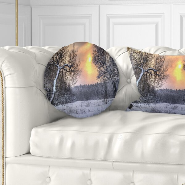 Landscape Winter with Sun Pillow by East Urban Home