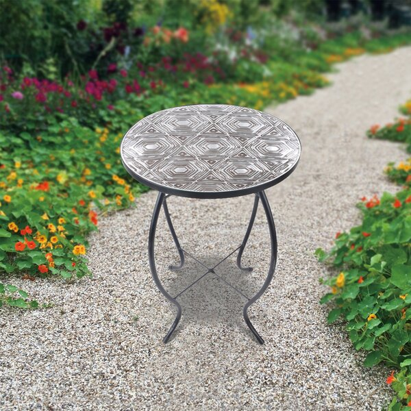 Outdoor Geometric Handpainted Fusion Glass Etagere Plant/Telephone Table by Peaktop