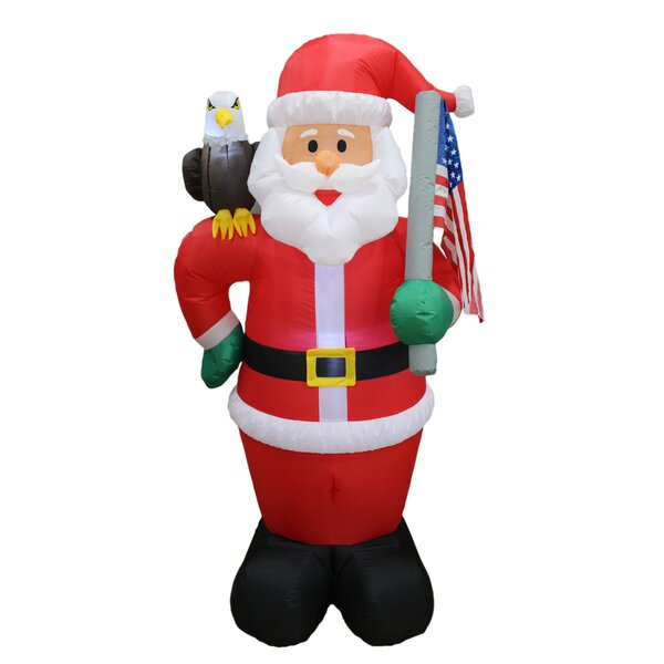 Christmas Inflatable Patriotic Santa Claus with Eagle and American Flag Yard Decoration by BZB Goods