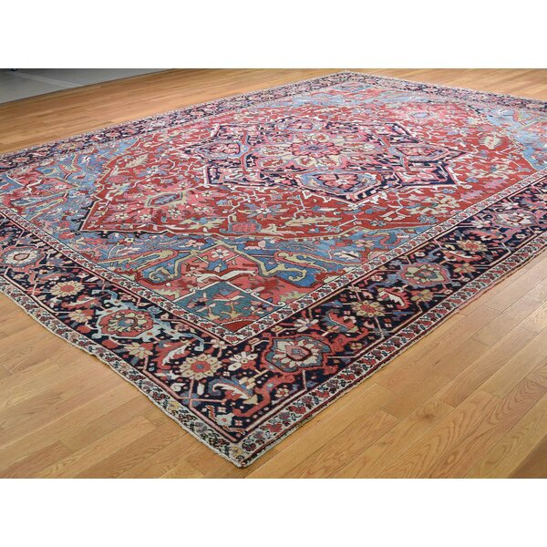 One-of-a-Kind Demott Hand-Knotted Red 11'7 x 14'9 Wool Area Rug